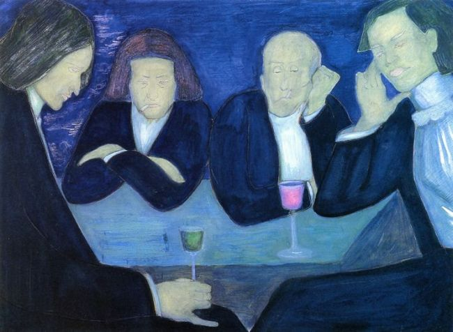 In the Café by Marianne Werefkin, 1909