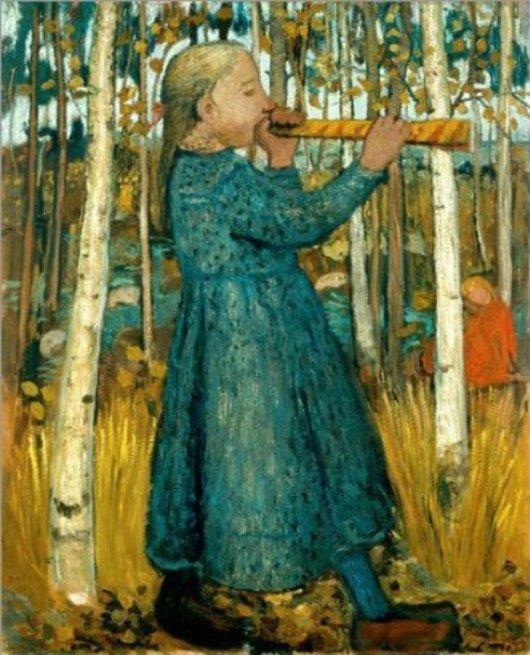 Girl Playing the Flute in Forest of Birch Trees, 1905, ©Paula Modersohn-Becker